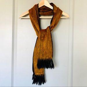 Handwoven Knit Alpaca Wool Scarf in Tan / Orange
